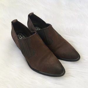 Sam Edelman Circus Brown Leather Western Booties